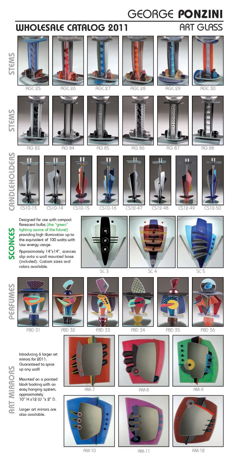 Ponzini Art Glass Catalog 2011 pg 1