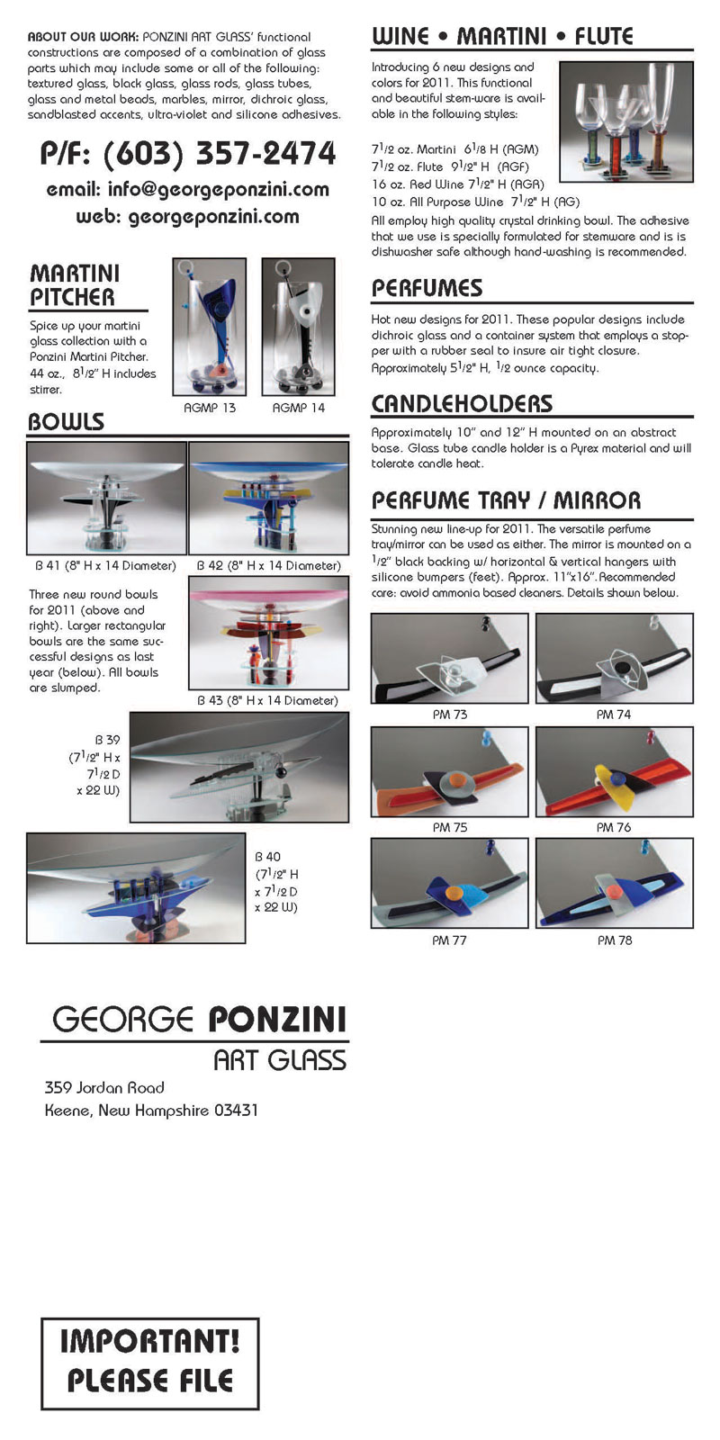 Ponzini Art Glass Catalog 2011 pg 2